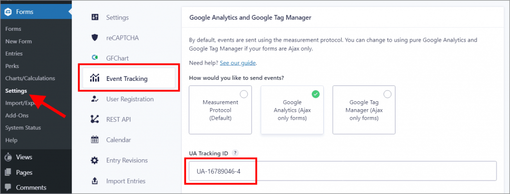 """The UA tracking ID on the """"Event Tracking"""" settings page"""
