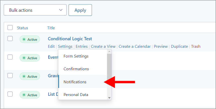 """An arrow pointing to the """"Notifications"""" link under """"Settings"""""""