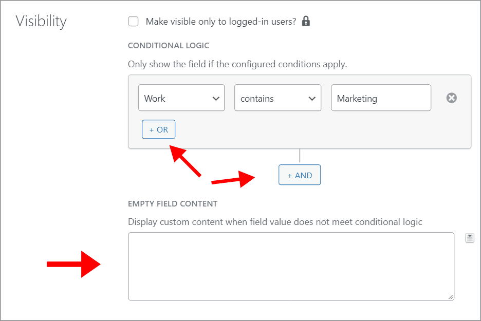 """The """"AND"""" and """"OR"""" buttons for adding conditional. Underneath that is an input box for custom content"""
