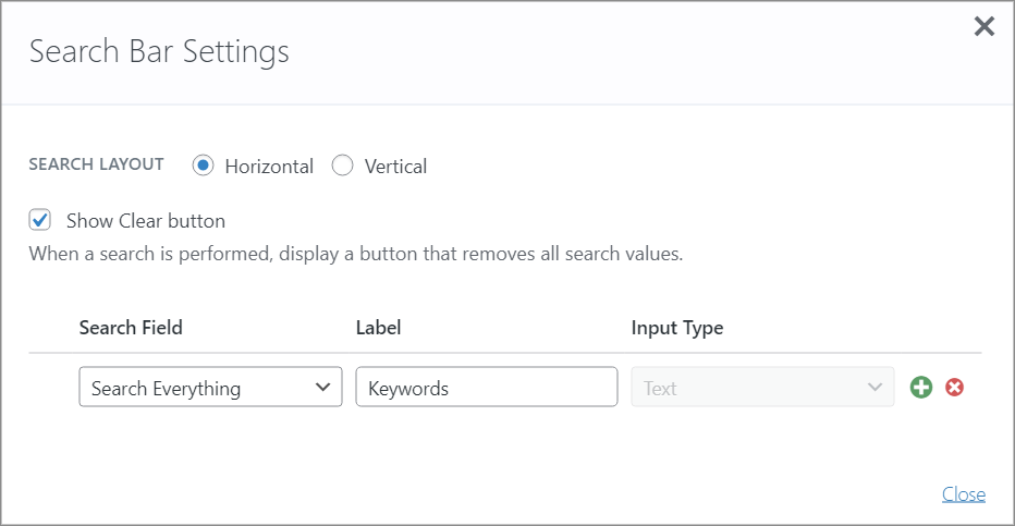 The GravityView Search Bar settings