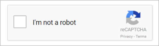 """Google's reCAPTCHA with a checkbox saying """"I'm not a robot""""."""