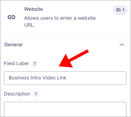 """An arrow pointing to the Website Field Label that says """"Business Intro Video Link""""."""
