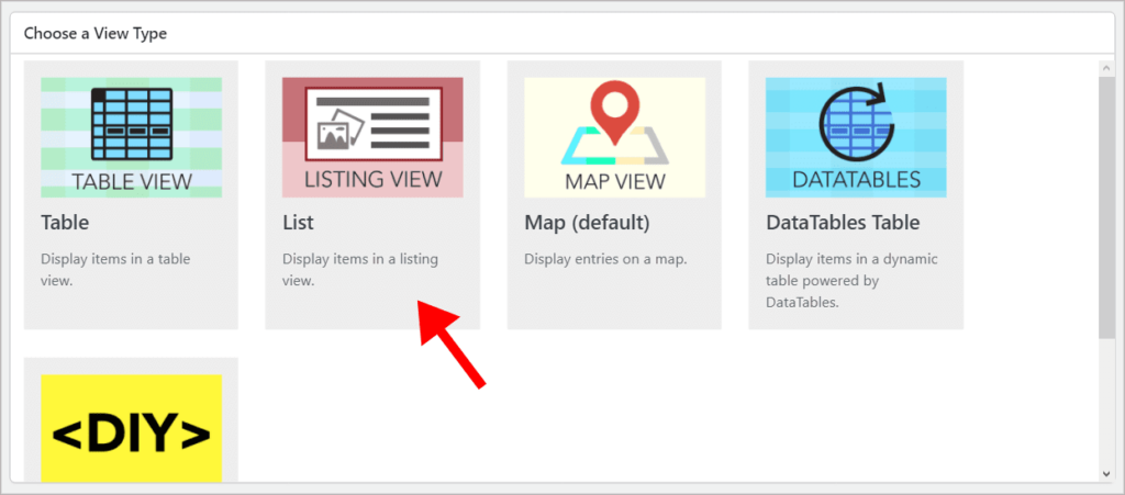 The different GravityView View Layouts with an arrow pointing to the List layout