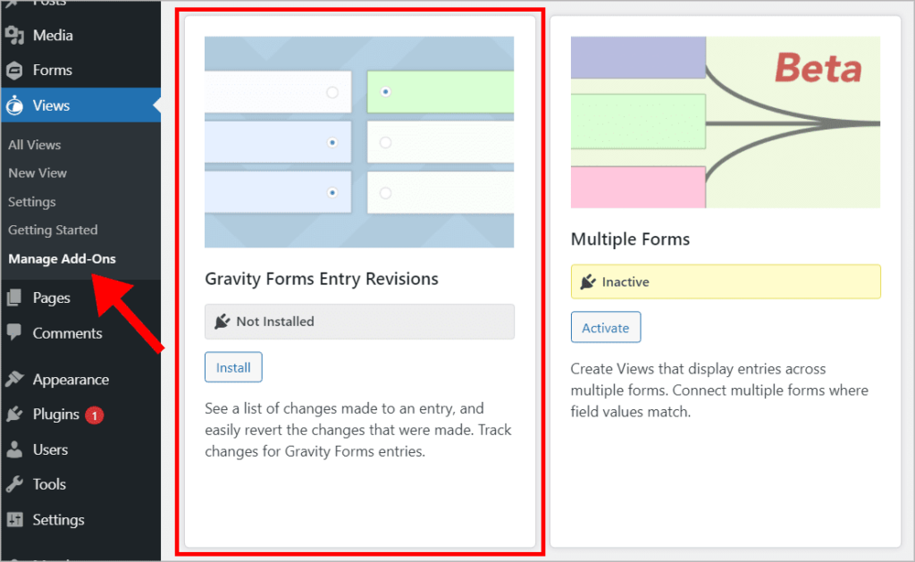 """The GravityView """"Manage Add-Ons"""" screen in WordPress"""