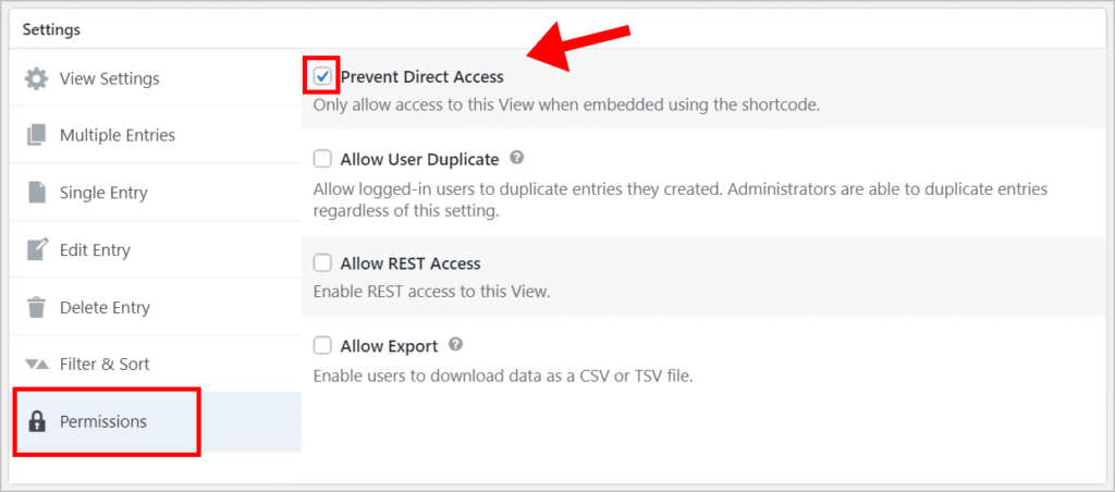 """The """"Permissions"""" tab on the GravityView Settings meta box. The """"Prevent Direct Access"""" checkbox is checked."""