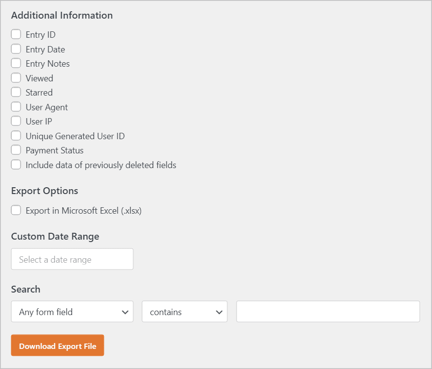 The WPForms Export page in WordPress showing all of the different options for exporting entries