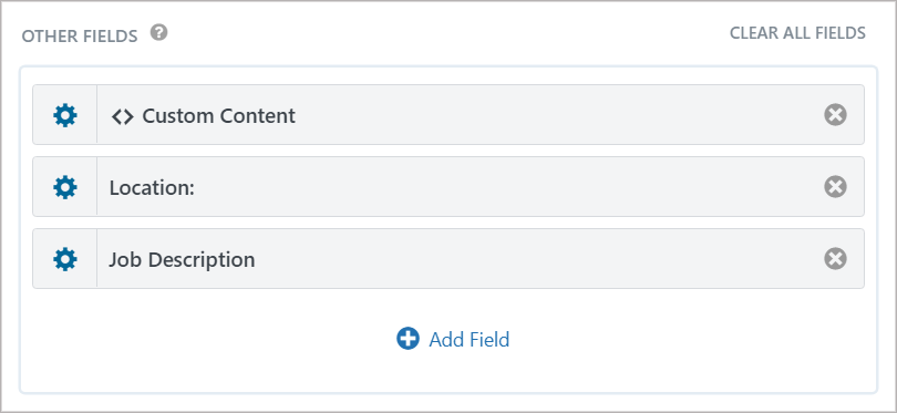Fields added to the 'Other Fields' section of the View layout
