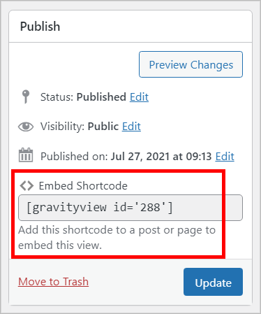 The GravityView embed shortcode