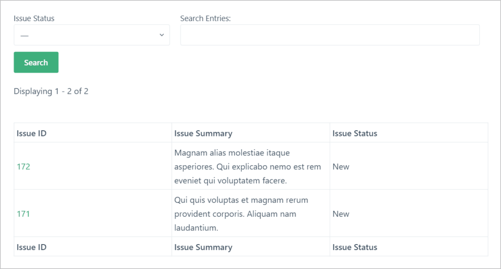 The GravityView issue tracker on the front end using a table layout