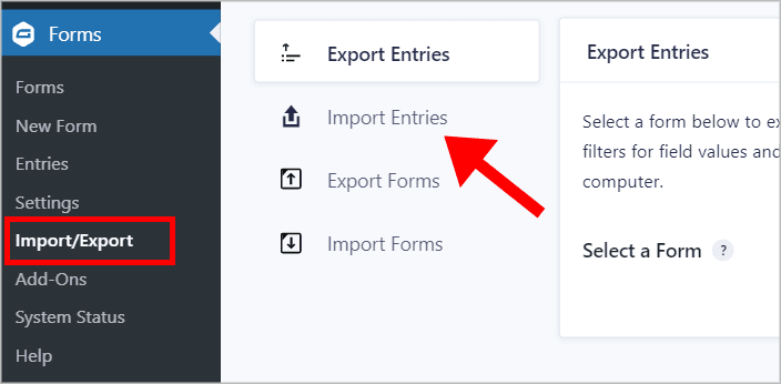 The Gravity Forms Import/Export screen with an arrow pointing to the Import Entries tab