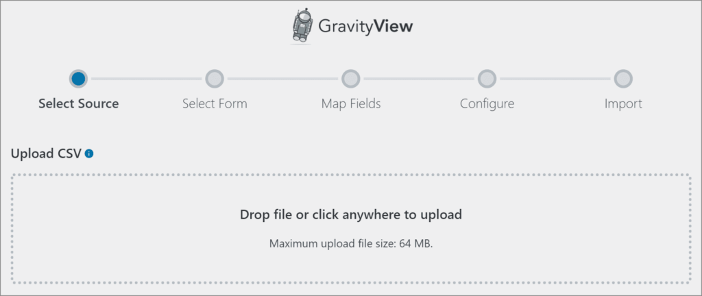 The GravityView Import Entries screen showing the five-step import process