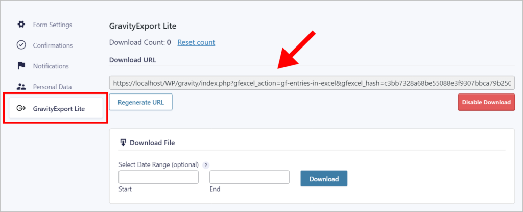 The Entries in Excel Feed Settings page in Gravity Forms with an arrow pointing to the Download URL