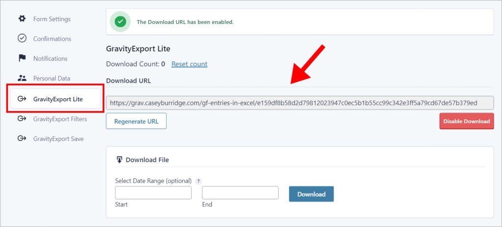 An arrow pointing to the download URL on the GravityExport Lite page