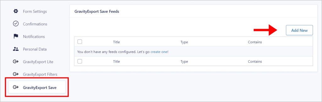 An arrow pointing to the 'Add New' button on the GravityExport Save feed page