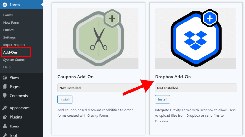 An arrow pointing to the Gravity Forms Dropbox add-on on the Gravity Forms Add-Ons page