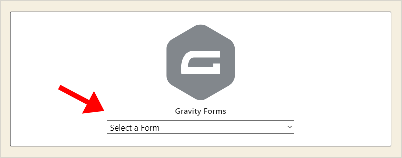 The Gravity Forms Gutenberg block with an arrow pointing to the 'Select a Form' dropdown.