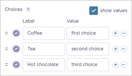 Gravity Forms Drop Down field settings showing the Label and Value for each choice