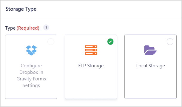 Selecting the FTP storage type for Gravity Forms FTP integration