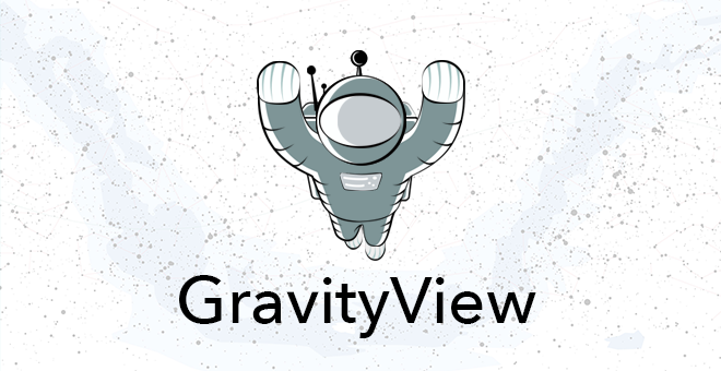 """The GravityView mascott, Floaty with text below that says """"GravityView"""""""