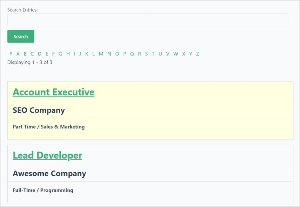 A job board created using the GravityView list layout