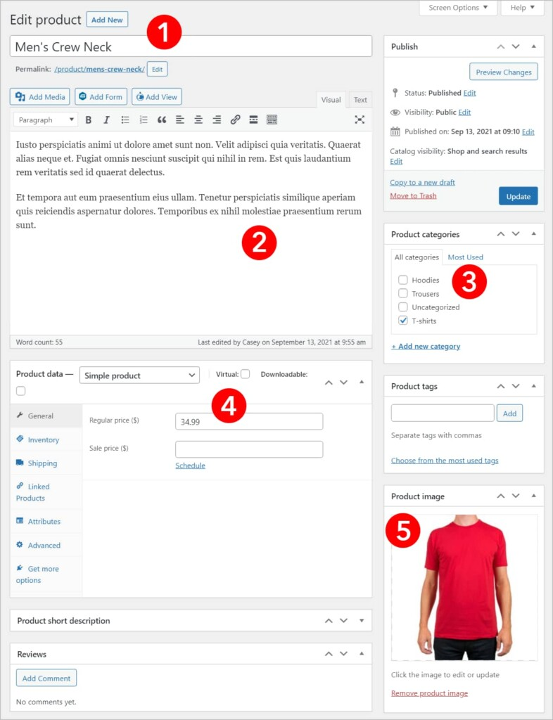 A WooCommerce product page in WordPress with number over the most important fields