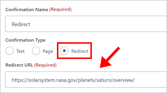 A confirmation with the Type set to 'Redirect' and a URL inside the Redirect URL field.